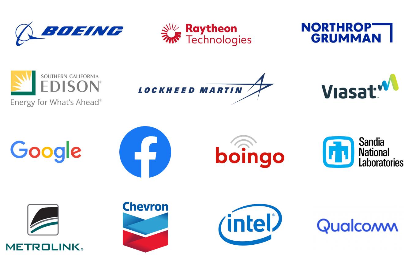 Logos for Boeing, Raytheon, Northrop Grumman, SoCal Edison, Lockheed Martin, Viasat, Google, Facebook, Boingo, Sandia National Laboratories, Metrolink, Chevron, Intel, and Qualcomm