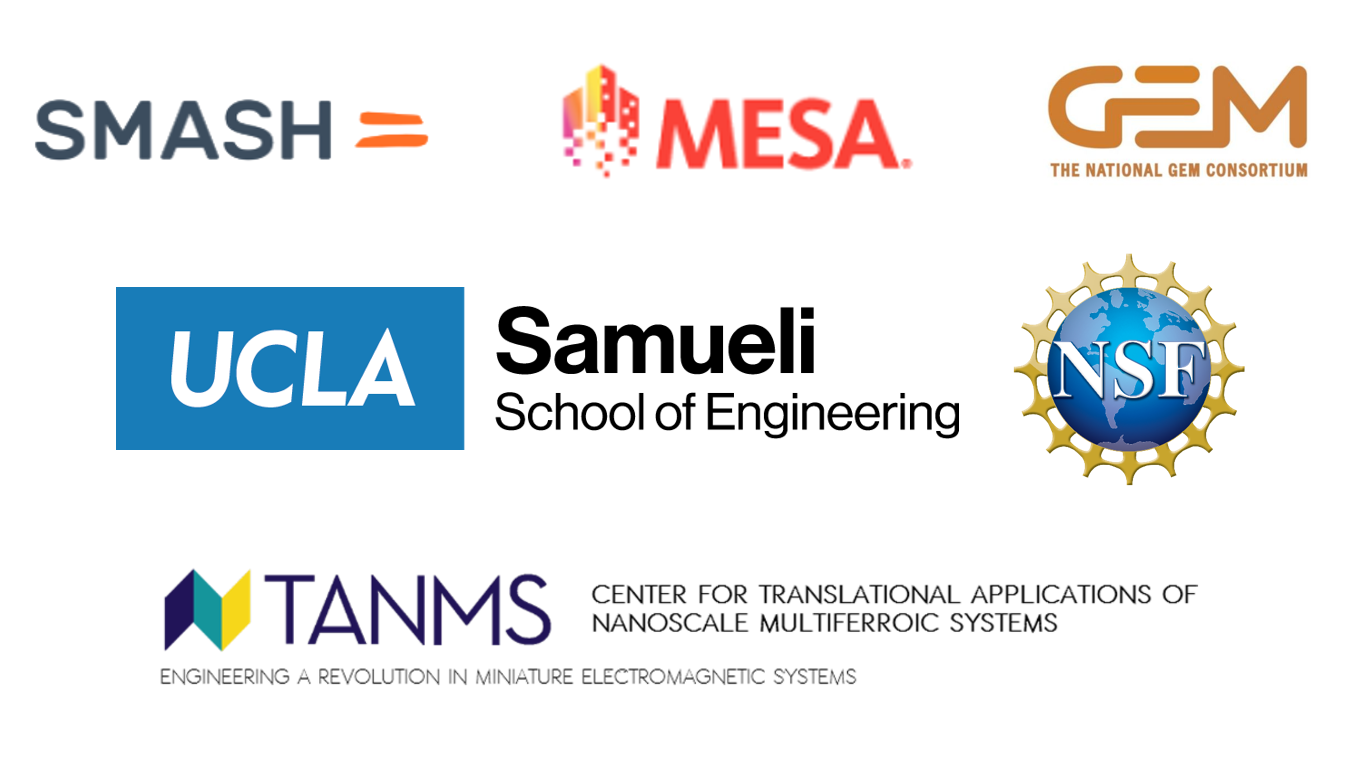 Logos for SMASH, MESA, The National Gem Consortium, UCLA Samuely School of Engineering, National Science Foundation, and TANMS