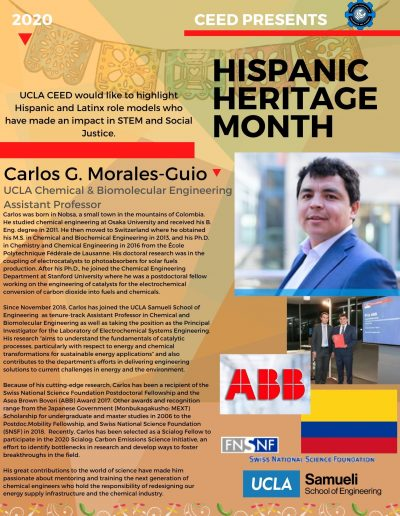 Carlos G. Morales-Guio Hispanic Heritage Month Highlight Flyer