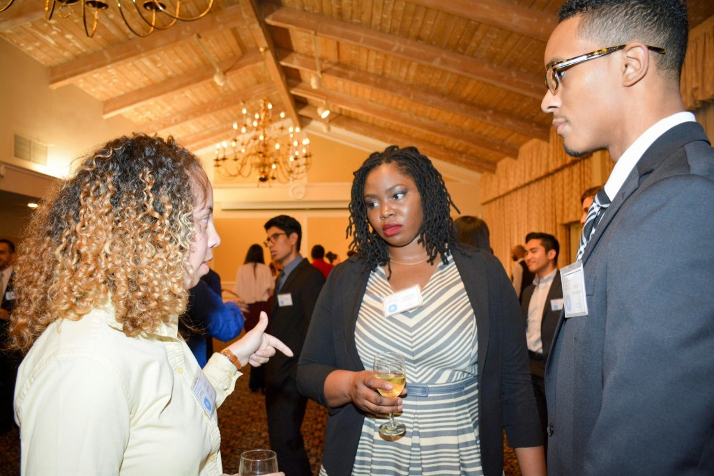 Ashly Henry discusses opportunities at Chevron with CEED students Sade Adeseun and Julian Patterson.