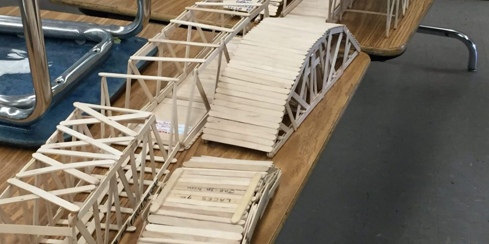 Student-made bridges from popsicle sticks.