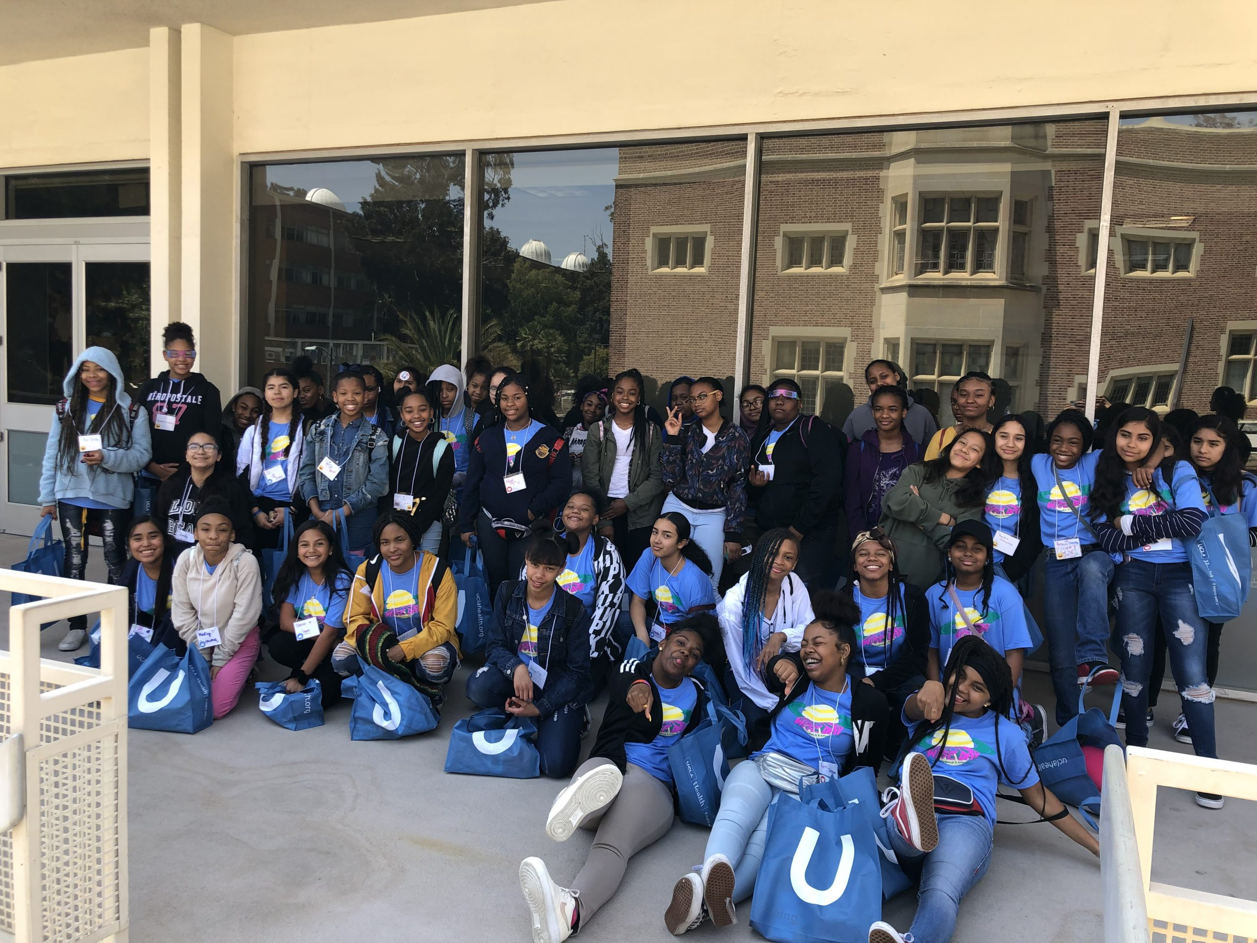 Young female students pose at Ackerman during the 2019 Women in Science and Engineering Day.