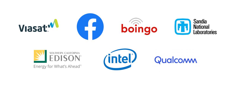 Viasat, Facebook, Boingo, Sandia National Labs, SoCal Edison, Intel, Qualcomm