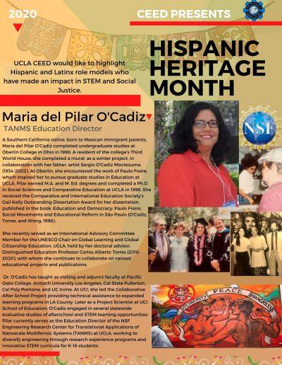 Maria del Pilar O'Cadiz Hispanic Heritage Month Highlight Flyer