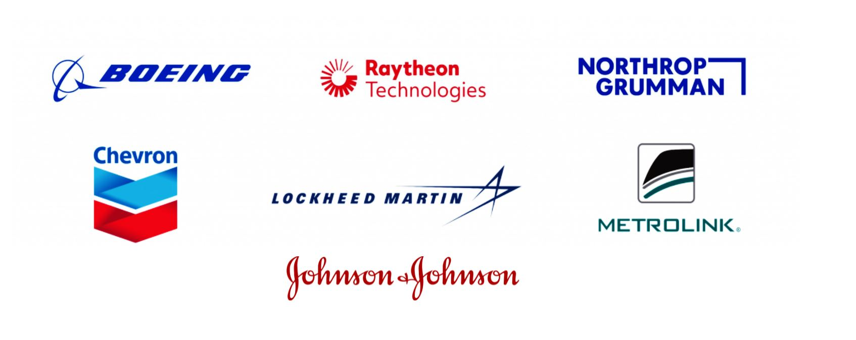Boeing, Raytheon Technologies, Northrop Grumman, Chevron, Google, Lockheed Martin, Metrolink